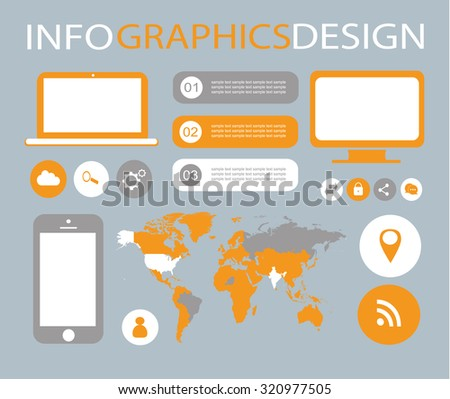 infographic elements for mobile and computer / infographic computer elements - stock vector