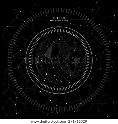 infographic elements. futuristic user interface. Abstract polygonal space low poly dark background with connecting dots and lines. Vector science Polygonal background. Futuristic HUD background. - stock vector
