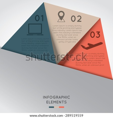 Infographic Elements in Triangle Shape and 3 segments. Can be used for presentation,web design, workflow or graphic layout, diagram, etc.  - stock vector