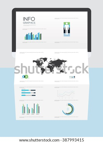 Infographic elements on brochure, vector illustration. Information Graphics  - stock vector
