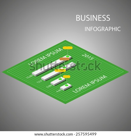 Infographic elements on the green background. Vector illustration. - stock vector