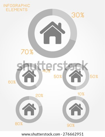 infographic elements pie chart template house home residence real state mortgage neighborhood community vector - stock vector