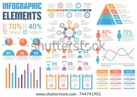 Infographic Elements Pie Charts Timeline Percents Stock-Vektorgrafik ...