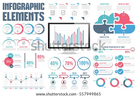 Infographic elements - process infographics, percents, bar chart and line chart, steps, options, timeline infographics, pie chart, puzzle cloud, vector eps10 illustration