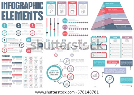 Infographic Elements Process Infographics Workflow Diagrams Stock