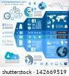 Infographic elements - set of paper tags, technology icons, cloud cmputing, graphs, paper tags, arrows, world map and so on. Ideal for statistic data display. - stock