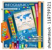 Infographic elements - set of paper tags, technology icons, graphs, paper tags, arrows, world map and so on. Ideal for statistic data display. - stock vector