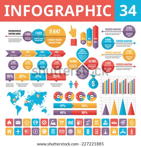 Infographic elements 34. Set of vector design elements in flat style for business presentation, booklet, web site and other projects. Infographic templates. Included 33 vector icons. - stock vector
