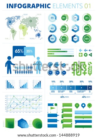 Infographic Elements 01. This is a pack of infographic elements great for presentations, reports, prints, brochures, websites etc. All the charts and graphs are sliced into pieces of 5% each. - stock vector
