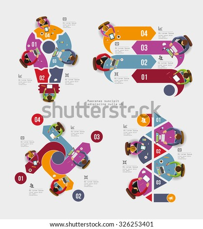Infographic Elements - Top View on Arrows with People. Vector illustration. - stock vector