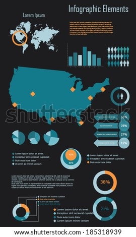 Infographic Elements Vector Illustration of United States of America USA - stock vector