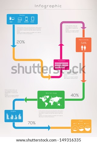 Infographic elements vector illustration. World Map and Information Graphics - stock vector