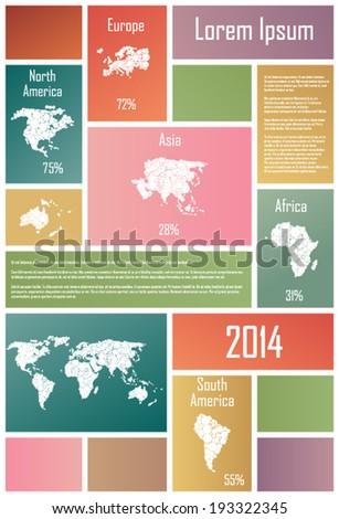 Infographic Elements wih continents In Colorful Rectangles - stock vector