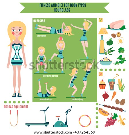 Infographic: fitness and diet for body types (hourglass) - stock vector