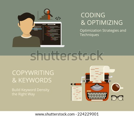 Infographic flat concept process of website coding and content copywriting as a part of SEO optimization and web page development and keywords building - stock vector