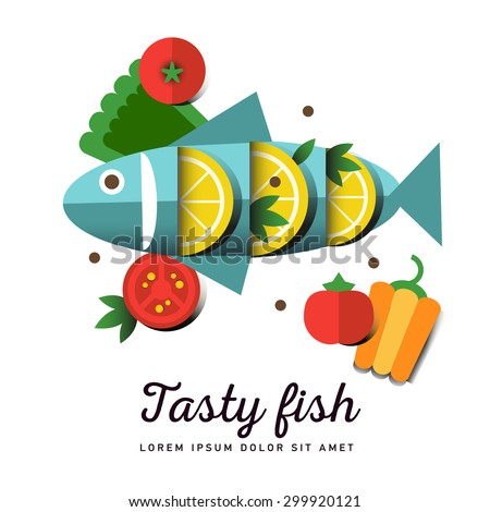 Infographic food business seafood flat lay idea. Vector illustration hipster concept, can be used for layout, advertising and web design. Seafood design set. Seafood menu for restaurant. Tasty fish - stock vector