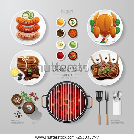 Infographic food grill,bbq,roast,steak flat lay idea. Vector illustration hipster concept.can be used for layout, advertising and web design. - stock vector