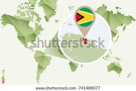 Infographic Guyana Detailed Map Guyana Flag Stock Vector 741488077