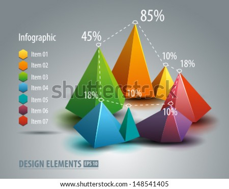 Infographic graph. Chart diagram  - stock vector