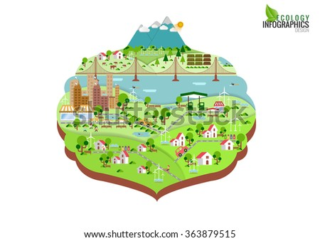 Infographic green ecology city and Renewable energy  