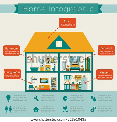 Infographic home. Flat style vector illustration. - stock vector