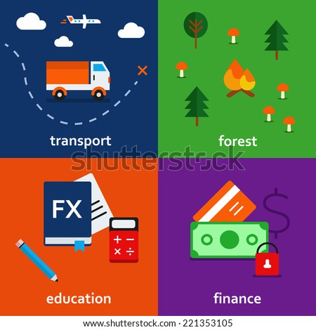 Infographic icon set of transport, forest and education vector - stock vector