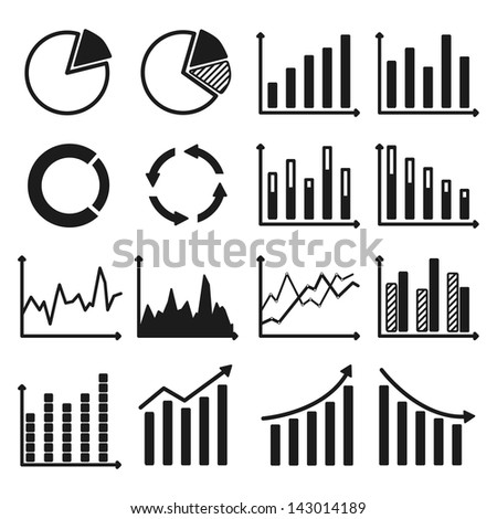 Infographic icons. Set of charts and graphs. Vector illustration. - stock vector