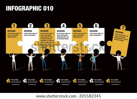 Infographic illustrating the pieces of a puzzle put together by people - stock vector