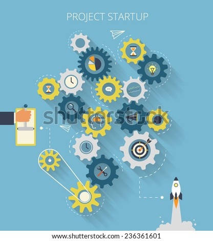 Infographic illustration of project startup process with gearing - stock vector