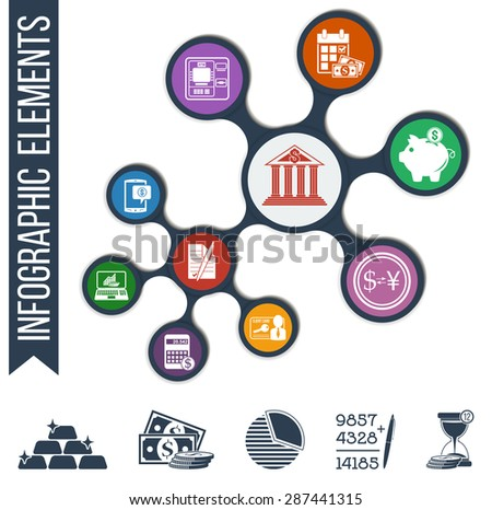 Infographic illustration with integrated bank & financial icons for currency exchange, deposits, regular payments, ATM, bargain, identification card, online banking, mobile banking + 5 bonus icons!  - stock vector