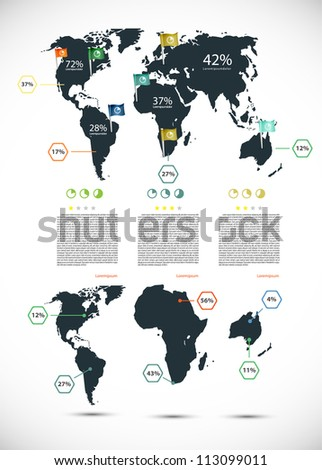 Infographic illustration with map - stock vector