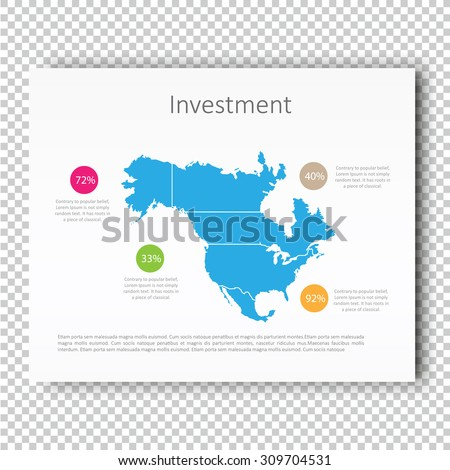 Infographic Investment North America Map Presentation Template, Business Layout design, Modern Style, Vector design illustration. - stock vector