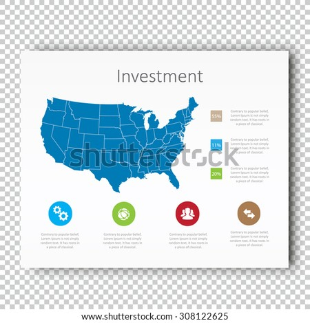 Infographic Investment USA Map Presentation Template, Business Layout design , Modern Style , Vector design illustration. - stock vector