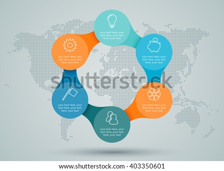 Infographic Linked Diagram With Dots World Map Back Drop - stock vector