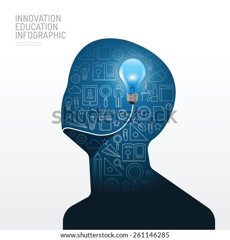 Infographic man with light bulb flat line idea. Vector illustration.education innovation concept.can be used for layout, banner and web design. - stock vector