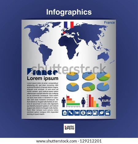 Infographic map of France show population and consumption statistic information.EPS10 - stock vector