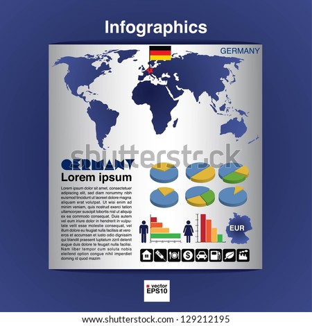 Infographic map of Germany show population and consumption statistic information.EPS10 - stock vector