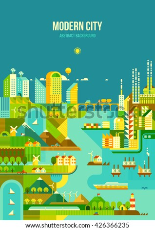 Infographic - modern city, industry, ecosystem and travel. Flat design - stock vector