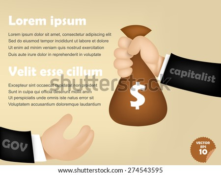infographic of capitalist man giving money bag to government, corruption concept - stock vector