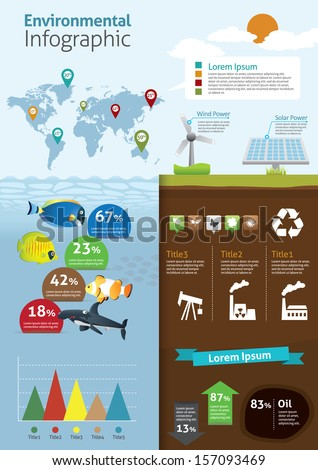 infographic of ecology and green house, concept design  - stock vector