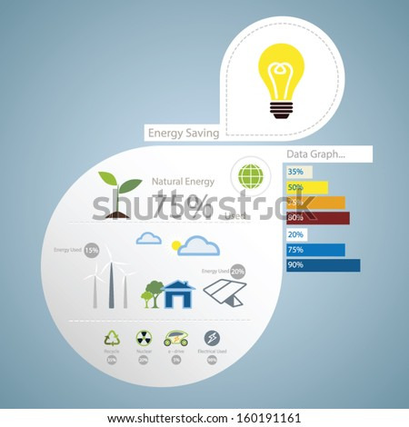infographic of energy saving concept - stock vector