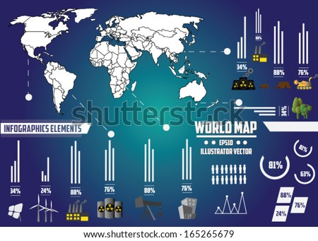 infographic of energy. vector illustration. Map of world. environmental issues. go green. - stock vector