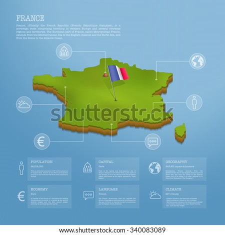 Infographic of France map eps10 vector illustration - stock vector