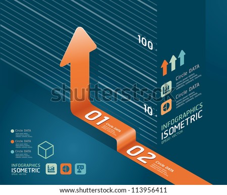 infographic orange arrow diagram chart. Detailed   / can be used for infographics / graphic or advertise layout vector illustration - stock vector