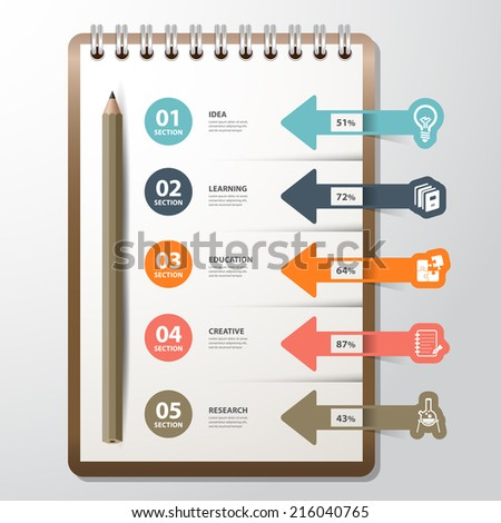 Infographic paper book with bookmark icon education concept. Creative folded paper modern template design vector illustration