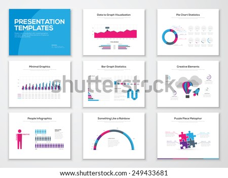 Infographic presentation slide templates and business vector brochures. Big set of modern infographic vector elements for web, print, magazine, flyer, brochure, media, marketing and advertising. - stock vector