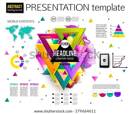 Infographic presentation template, colorful geometric triangular design with watercolor drops. Business Infographic with charts and graphs. Business elements, world map, graphics. Vector illustration. - stock vector