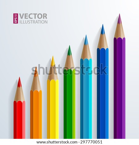 Infographic rainbow color pencils with realistic shadows diagonal growth chart on white background. RGB EPS 10 vector illustration - stock vector