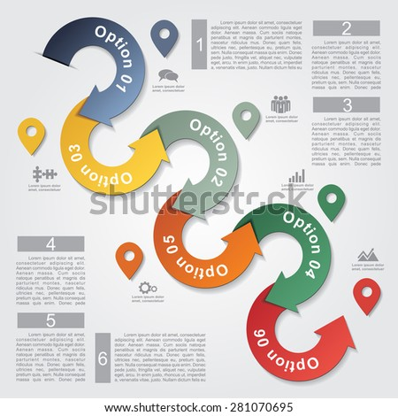 Infographic report template with arrows and icons. Vector illustration - stock vector