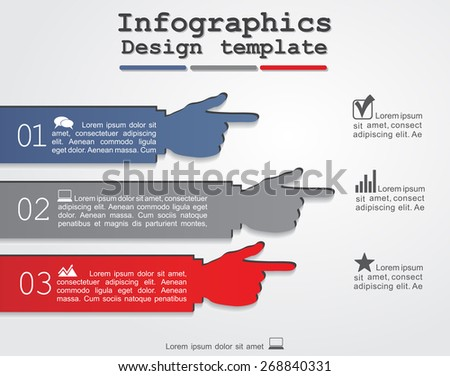 Infographic report template with hands. Vector illustration - stock vector
